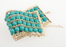 BTQ Gold and Blue Beaded Bracelet
