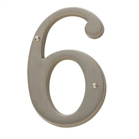 Satin Nickel House Number - 6