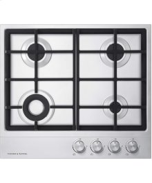 """24"""" 4 Burner Gas on Steel Cooktop"""