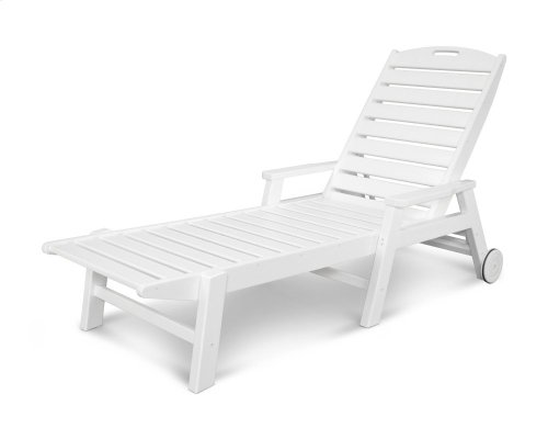 White Nautical Chaise with Arms & Wheels