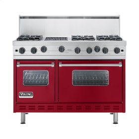 "Apple Red 48"" Open Burner Commercial Depth Range - VGRC (48"" wide, six burners 12"" wide char-grill)"