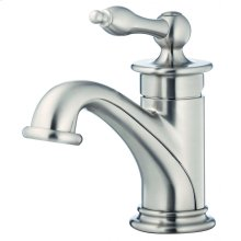 Brushed Nickel Prince 1H Lavatory Faucet Single Hole Mount w/ 50/50 Touch Down Drain & Optional Deck Plate Included 1.2gpm