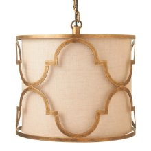 Metal Geometric Pendant with Linen Shade. 60W Max.