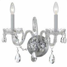 Traditional Crystal2 Light Swarovski Strass Crystal Chrome Sconce I