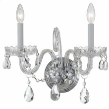 Traditional Crystal 2 Light Swarovski Strass Crystal Chrome Sconce