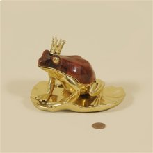 POLISHED FINISHED CAST BRASS C LOCK, FROG MOTIF, DYED RED PEN SHELL INLAID ACCENTS