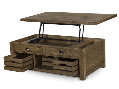 Lift Top Storage Cocktail Table (w/Casters)