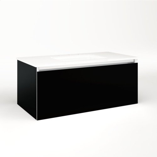 """Cartesian 36-1/8"""" X 15"""" X 18-3/4"""" Single Drawer Vanity In Black With Slow-close Full Drawer and No Night Light"""