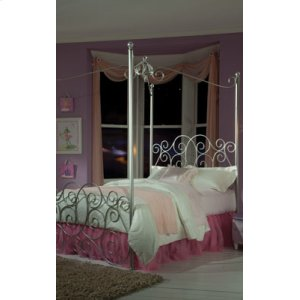 Silver Metal Canopy Bed Twin