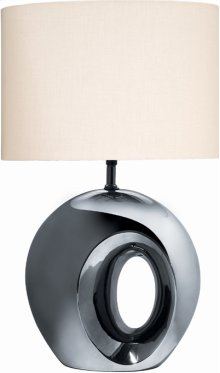 Ceramic Table Lamp, Blk/chrome Finish W/fabric Shade, A 100w