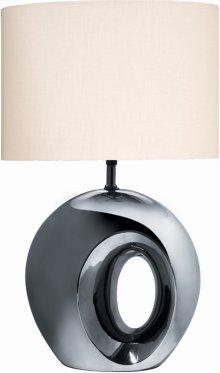Ceramic Table Lamp, Blk/chrome Finish W/fabric Shade, A 100w