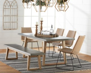 Haitus Table & Bench with Plait Rattan Chairs