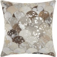 """Natural Leather Hide S1203 Silver Grey 20"""" X 20"""" Throw Pillow Product Image"""