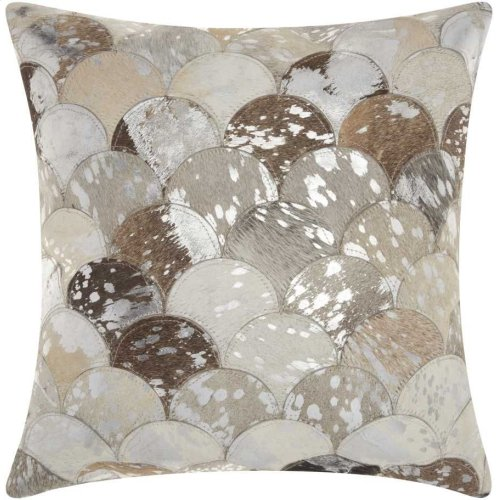 "Natural Leather Hide S1203 Silver Grey 20"" X 20"" Throw Pillow"