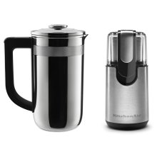 Exclusive Precision Press Coffee Maker + Coffee Grinder Set - Stainless Steel