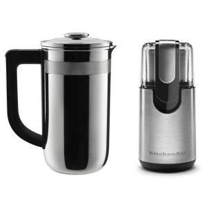 KitchenaidExclusive Precision Press Coffee Maker + Coffee Grinder Set - Stainless Steel