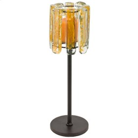 Blown Glass Yellow Candle Holder
