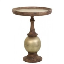 Side table 70x90 cm SALONI wood weather barn+ant.brass
