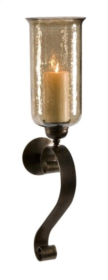 Medium Scroll Base Wall Sconce with Brown Luster Glass