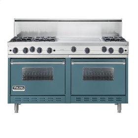 """Iridescent Blue 60"""" Open Burner Commercial Depth Range - VGRC (60"""" wide, six burners 24"""" wide griddle/simmer plate)"""