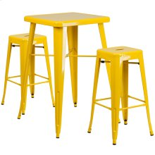 23.75'' Square Yellow Metal Indoor-Outdoor Bar Table Set with 2 Square Seat Backless Stools
