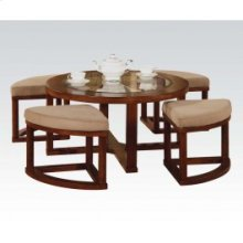 5pc Coffee Table,4mfb Ottoman