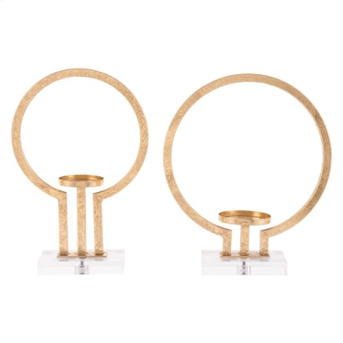 Oly Set Of 2 Candle Holders Gold