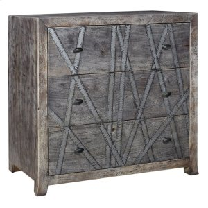 CRESTVIEW COLLECTIONSBengal Manor Mango Wood 3 Drawer Chest w/ Metal Strip Detail