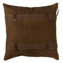 Antique Canvas Pillow with Double Strap and Faux Leather Accents.