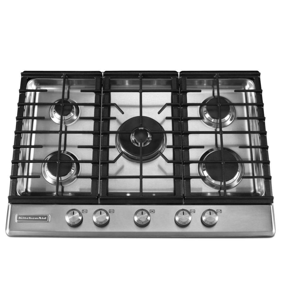 Perfect 30 Inch 5 Burner Gas Cooktop, Architect® Series II   Stainless Steel Display