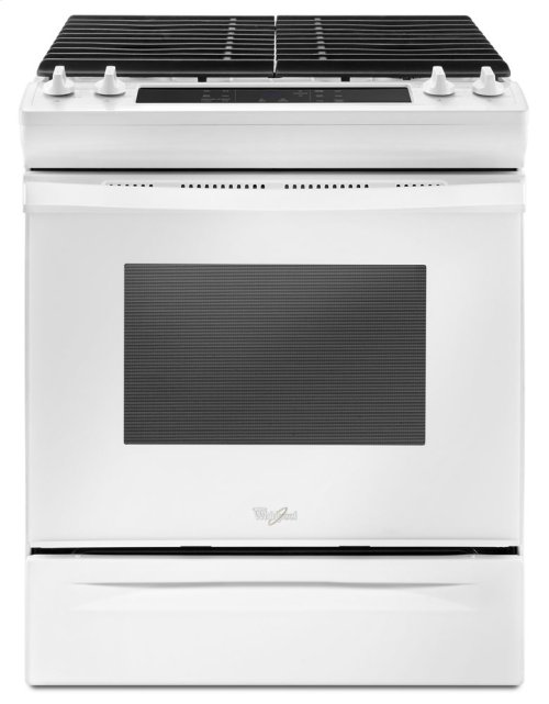 BIG SAVINGS ON THIS SLIGHTY USED - PRISTINE CONDITION WHIRLPOOL WHITE  NATURAL GAS ELECTRIC BROILER RANGE (LP CONVERSION AVAILABLE)- FULL WARRANTY_5.0 cu. ft. Front Control Gas Range with Cast-Iron Grates / CUSTOMER WANTED GAS BROILER MODEL