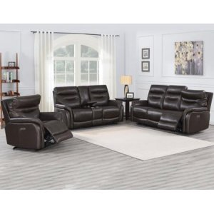 Steve Silver Co.Fortuna Coffee 3-Piece Dual-Power Leather Motion Set(Sofa, Loveseat & Chair)