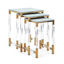 Misty Shagreen and Acrylic Nesting Tables - Set of 3