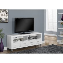 "TV STAND - 60""L / WHITE WITH 4 DRAWERS"