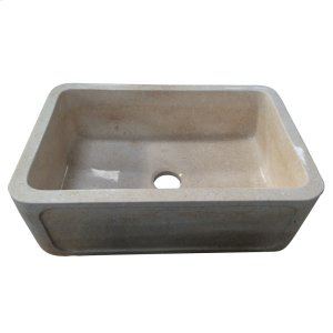 "Chardonnay Single Bowl Marble Farmer Sink - 33"" - Polished Egyptian Galala Marble Product Image"