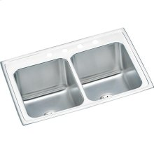 """Elkay Lustertone Classic Stainless Steel 33"""" x 22"""" x 10-1/8"""", Equal Double Bowl Drop-in Sink with Perfect Drain"""