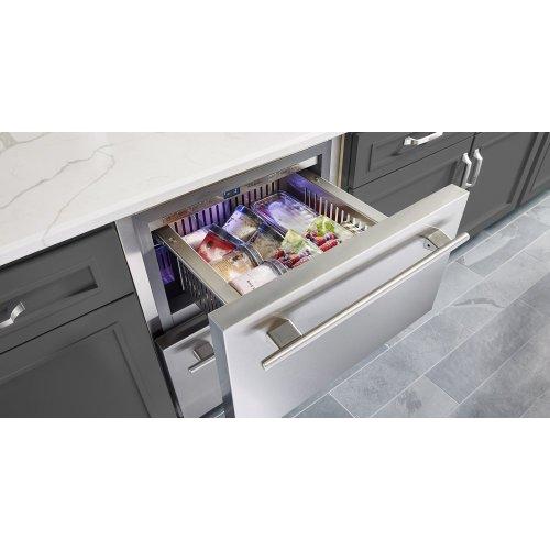 24 Inch Overlay Solid Door Undercounter Freezer - Right Hinge Overlay Solid