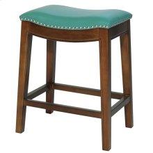 Elmo Bonded Leather Counter Stool, Turquoise