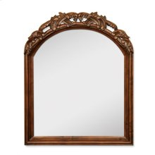 "26"" x 32"" Walnut mirror with hand-carved details and beveled glass"
