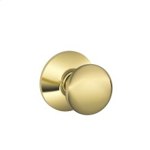 Plymouth Knob Hall & Closet Lock - Bright Brass