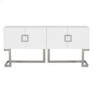 White Lacquer Media Console With Stainless Steel Base & Square Handles Product Image