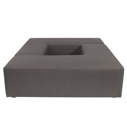 """""""L"""" Ottoman Sterling Charcoal"""