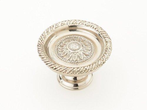 "Solid Brass, Symphony, Sunflower, Round Knob, 1-3/4"" diameter,White Brass finish"
