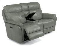 Zoey Leather Power Reclining Loveseat with Console and Power Headrests Product Image