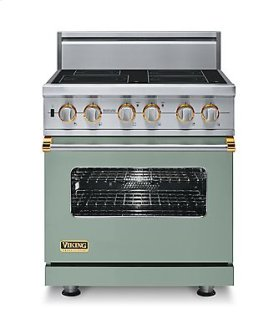 """30"""" Custom Electric Induction Range, Brass Accent"""