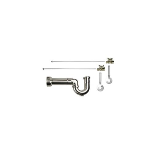 "Lavatory Supply Kit w/ Massachusetts P-Trap - Straight - Mini Cross Handle - 1/2"" Female IPS Inlet x 3/8"" O.D. Compression Outlet - Pewter"