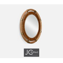 Circular Nautical Style Oak and Leather Mirror