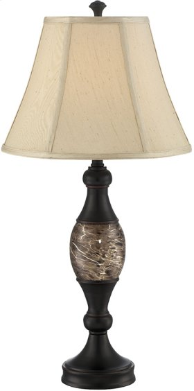 Table Lamp - Dark BRONZE/L.BEIGE Fabric Shade, E27 Cfl 23w