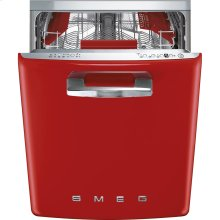 "Approx 24"" Pre-finished Dishwasher with 50'S Retro Style handle, Red"