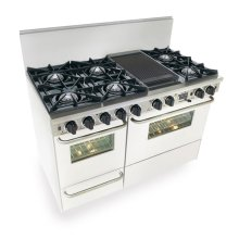 "48"" Dual Fuel, Convect, Self Clean, Open Burners, White"